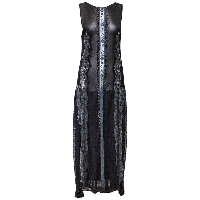 1970's Black Knit and Embroidered Maxi Dress and Shawl