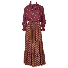 Yves Saint Laurent Mixed Patterns Skirt and Blouse Ensemble