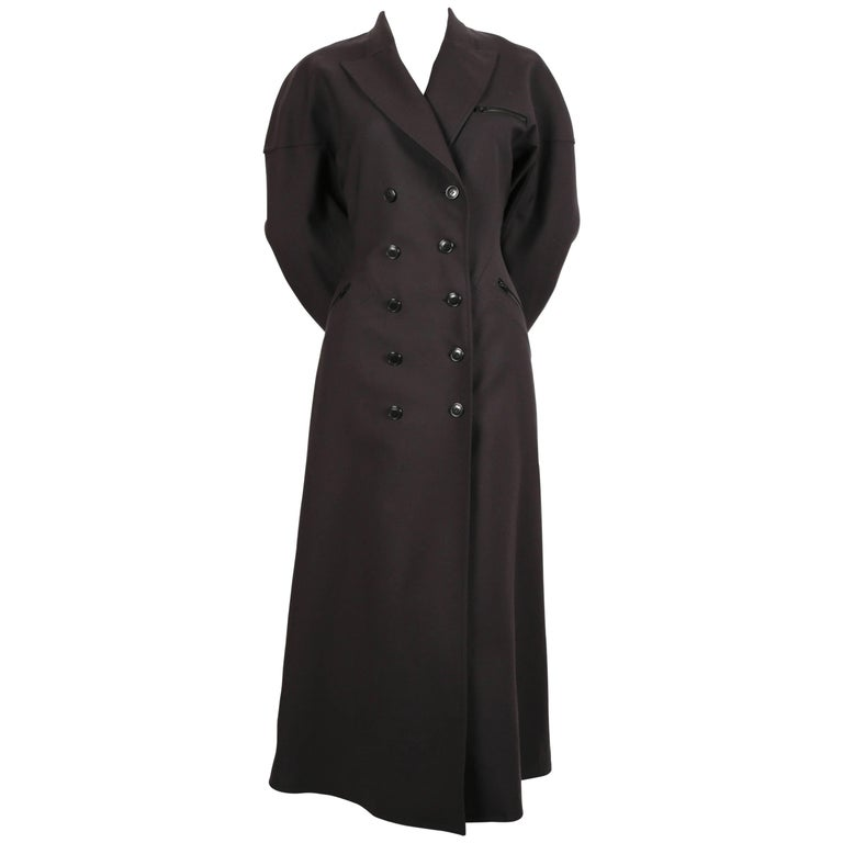 Azzedine Alaia charcoal wool gabardine coat with seamed back, 1980s