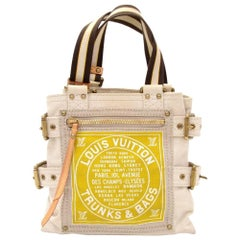 Louis Vuitton Globe Shopper PM White Toilet Canvas T&B Hand Bag