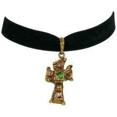 Christian Lacroix Vintage Cross Pendant Velvet Choker Necklace