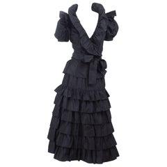 Vintage Yves Saint Laurent 2pc. Taffeta Dress in Black