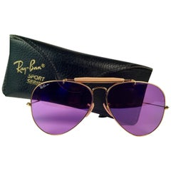 New Ray Ban Purple Chromax 58Mm Outdoorsman Collectors Item USA Sunglasses