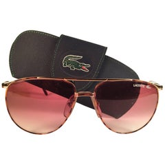 New Vintage Lacoste Tortoise & Gold 1980's Sunglasses Made in France