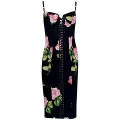 Dolce Gabbana Floral Lace Up Corset Dress