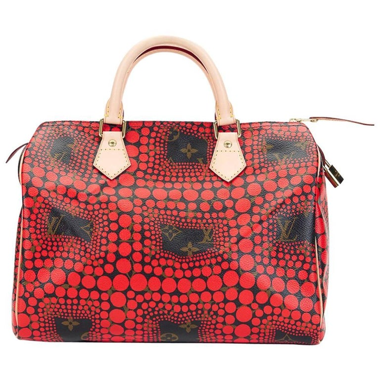 44105f4e921f 2012 Louis Vuitton Coated Canvas Yayoi Kusama Red Waves Monogram Speedy 30  For Sale