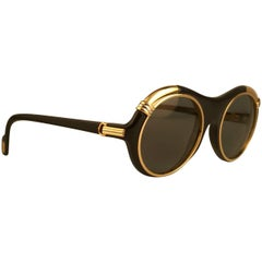 New Cartier Diabolo Gold & Black 53mm 24k Gold Sunglasses France