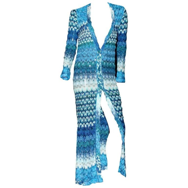 Missoni Metallic Seafoam Blue Crochet Knit Maxi Dress Gown Coat
