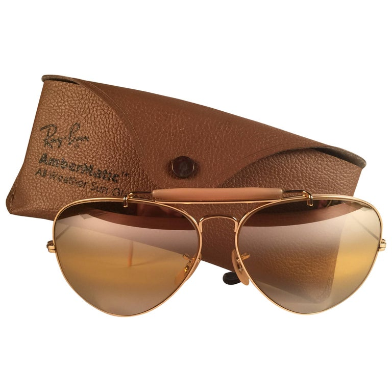 New Vintage Ray Ban Aviator Gold Ambermatic Double Mirror