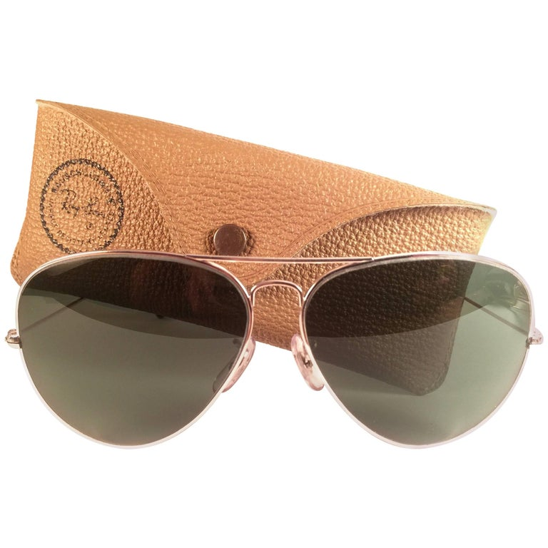 914cedd1392b32 New Vintage Ray Ban Aviator 62Mm White Gold Grey G15 Lenses B L Sunglasses  For Sale