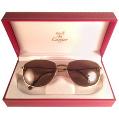 New Vintage Cartier Courcelles Gold Plated 57 17 Frame France 1990 Sunglasses