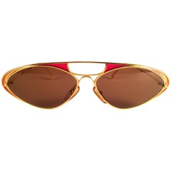 New Vintage Casanova Enamel Gold Frame Brown Lens 1980 Sunglasses