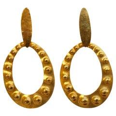 Herve van der Straeten Gilded Brass Embossed Clip Earrings