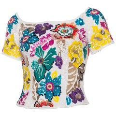 Tropical Beaded and Embroidered Richilene Top