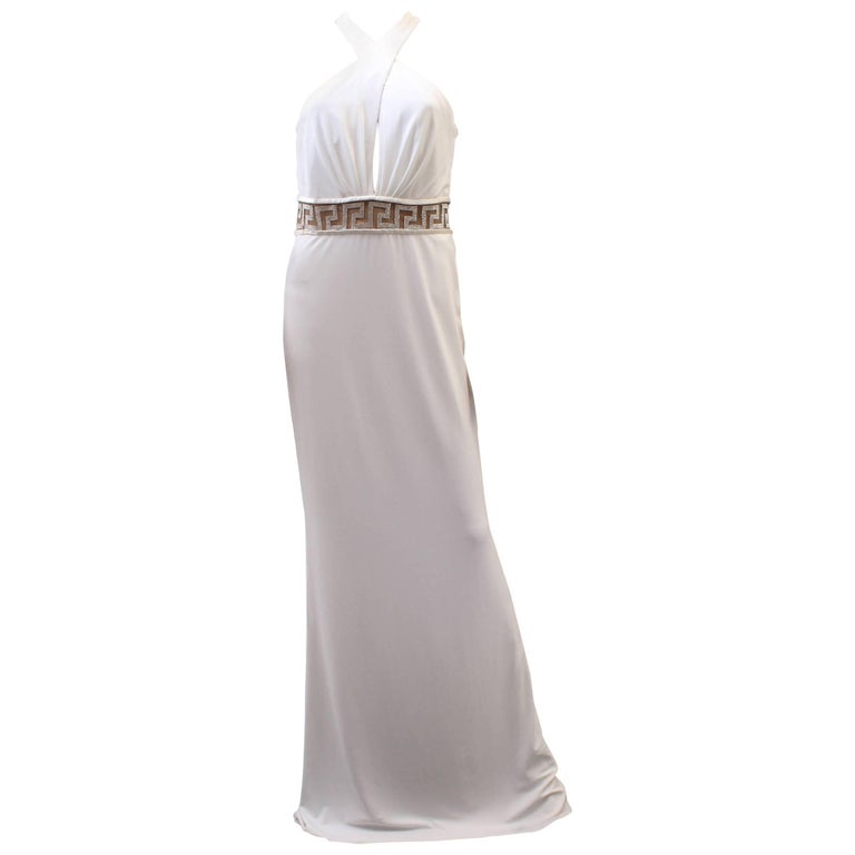 Versace Crystal Embellished white gown For Sale