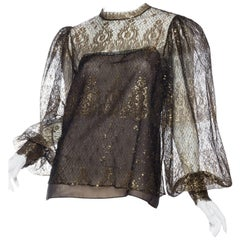 Oscar De La Renta Sheer Metallic Gold Lace Blouse