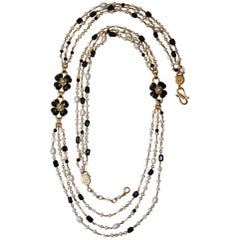 Goossens Paris Black Onyx, Pearl, and Rock Crystal Long Clover Necklace