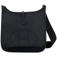 Hermes Black Evelyne III PM Cross-Body Messenger Bag
