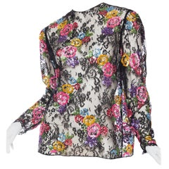 Oscar De La Renta Colourful Sequined Sheer Lace Blouse