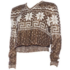 "Valentino ""Faux"" Fairisle Sweater in Sequins and Embroidery"