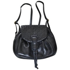 Bottega Veneta Vintage Black Intrecciato Leather Mini Backpack