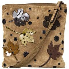 Prada Beige Suede Autumn Themed Crossbody Bag
