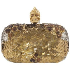 Alexander McQueen Jaw Skull Sequin Box Clutch Bag