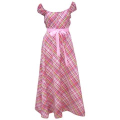 Cute 1970's Clovis Ruffin Cotton Plaid Maxi Dress