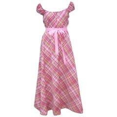 Cute 1970's Clovis Ruffin Cotton Plaid Maxi Dress
