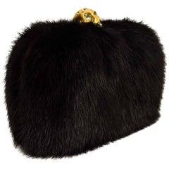 Alexander McQueen Black Mink Fur Skull Box Clutch