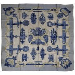 Hermes Vintage Silk Scarf Ferroneries with Blue background