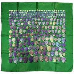 "Hermes ""Shells"" Vintage Silk Scarf in Green Background"