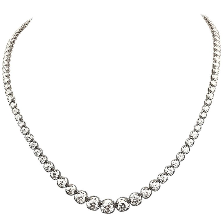 18KT White Gold Graduating Diamond Tennis Necklace (11.25CT) 1