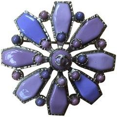 Chanel Lavender Enamel Floral Pin