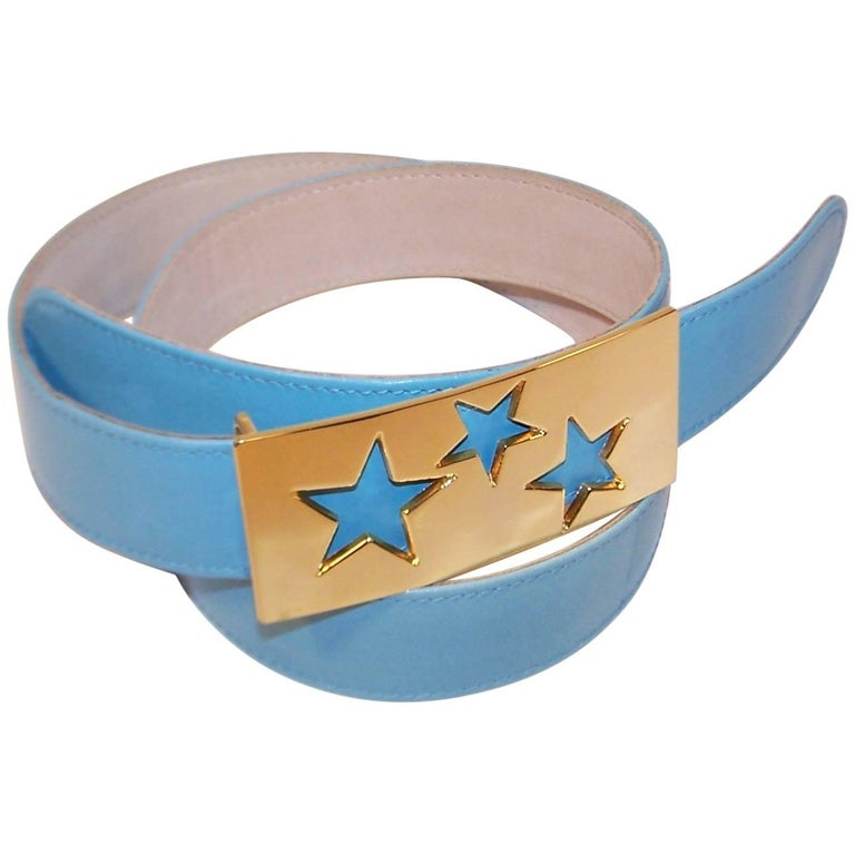 1980's Escada Star Gold Tone Buckle & Sky Blue Leather Belt For Sale
