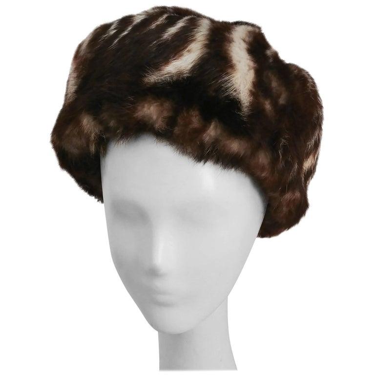 1960s Striped Rabbit Fur Hat