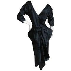 Irene Lenz Hollywood 1940's Black Silk Jacquard Dress with Back Bow