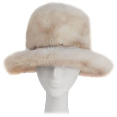 1970s Cream Mink Brimmed Hat