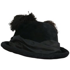 1910s Edwardian Black Hat w/ Silk Ribbon & Ostrich Feather Trim