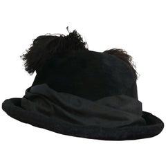1910s Edwardian Black Hat w/ Silk Ribbon & Ostrich Feather Trim