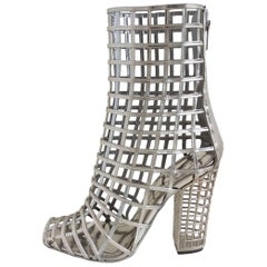 Yves Saint Laurent Silver Cage Peeptoe Booties Size 38