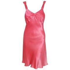 1960's Betsey Johnson for Paraphernalia Bubblegum Pink Satin Backless Dress
