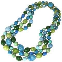 Hattie Carnegie Multi Strand Bakelite Bead Necklace