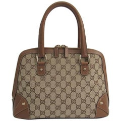 Gucci Monogram Canvas GG Leather Trim Medium Gold Top Handle Satchel Bag