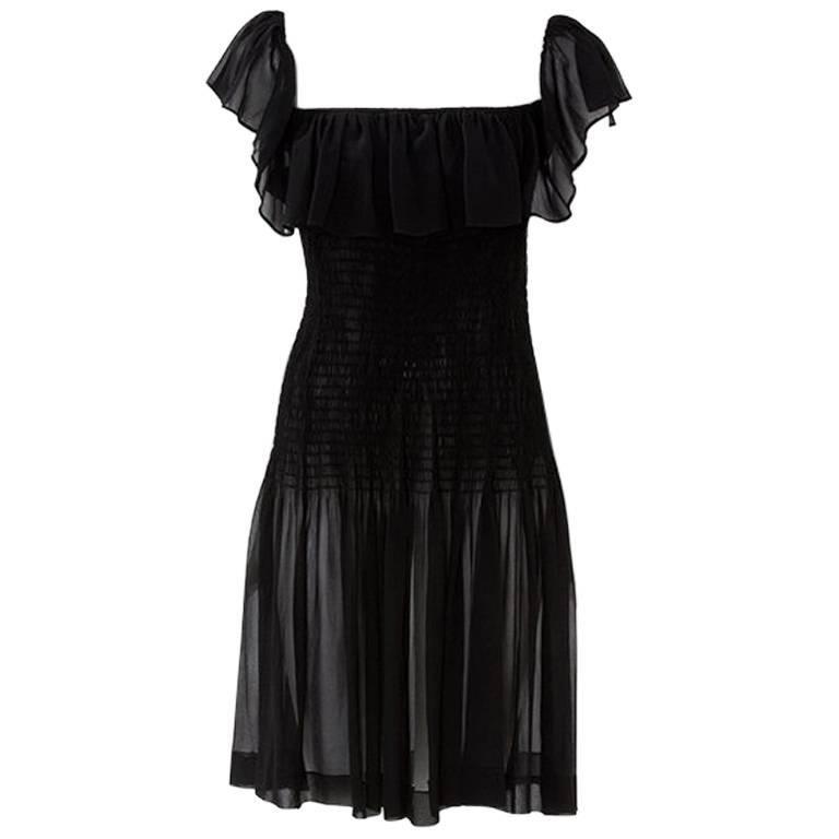 Yves Saint Laurent Silk Chiffon Smocked Dress  For Sale