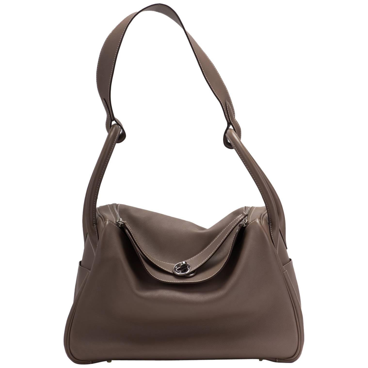 Hermes Etoupe Swift Palladium Lindy Bag 34cm