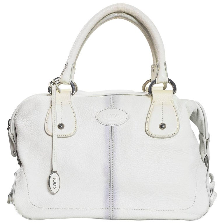 Tod's White Leather Bowler Bag For Sale