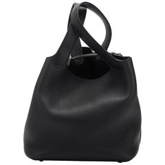 New in Box Hermes Picotin MM Black Palladium Bag