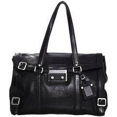 Prada Black Smooth Leather Shoulder Bag w/ Pushlock