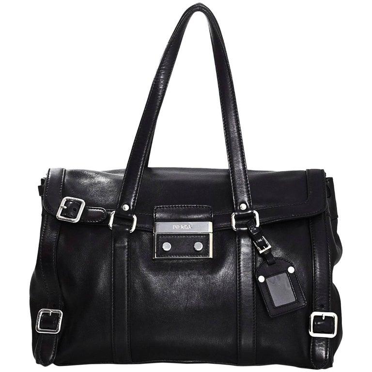 Prada Black Smooth Leather Shoulder Bag w/ Pushlock